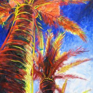obra grafica sobre papel canson coloreada por artista 60 x 40-600€_90 x 60-1200€__palmeras mediterraneas 2