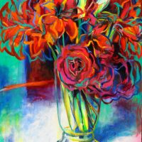 33.jarron de amarilis y rosas